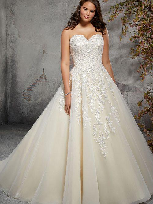 Figure Flattering, plus size A-Line Wedding Dress