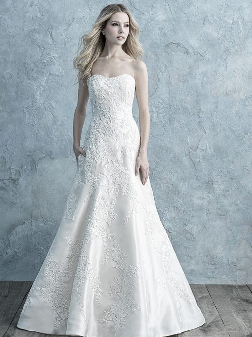 9675 Allure Bridals strapless Mikado wedding dress