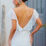 F175 Every ruffled lace neckline wedding dress