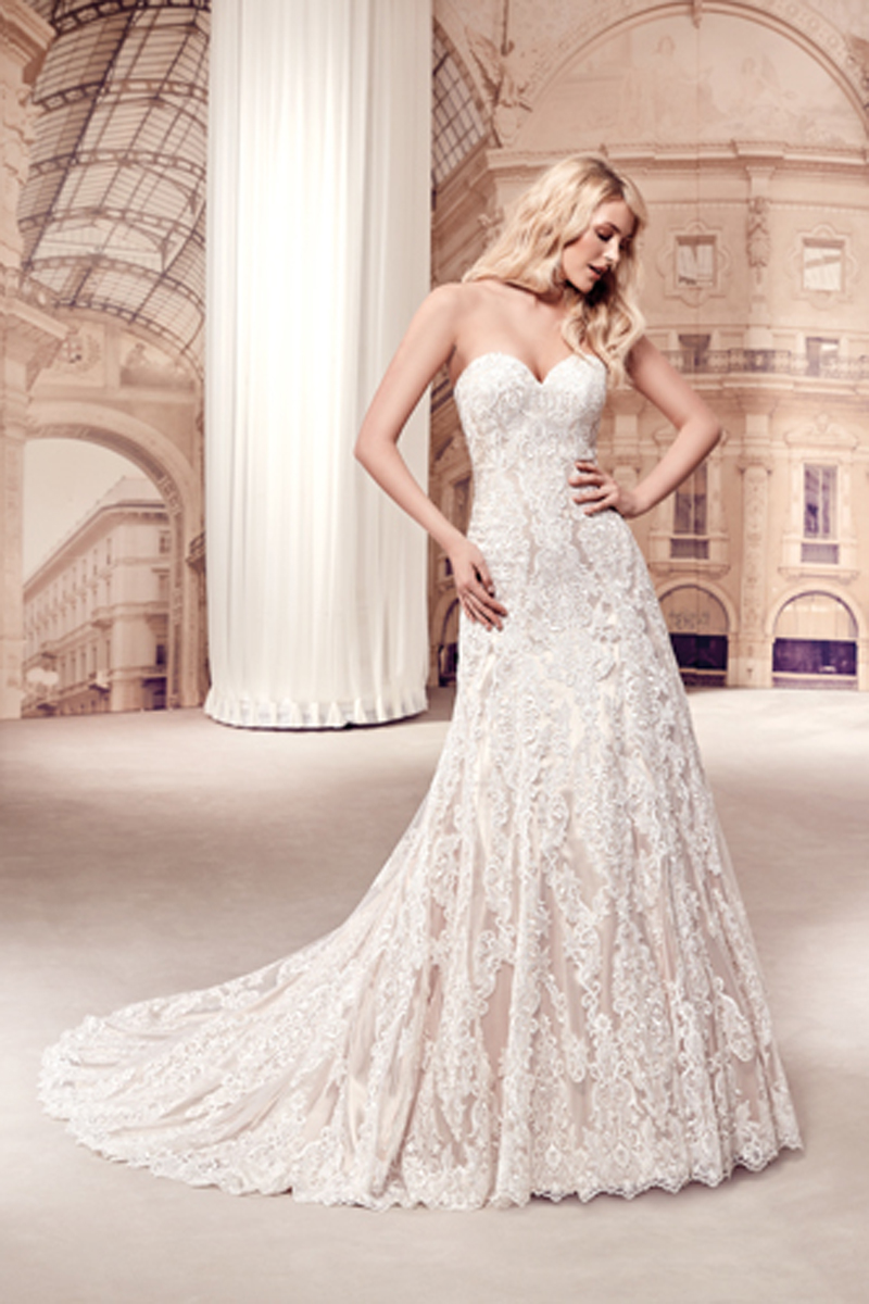 Classic A-line beauty with impeccable lace Bridal Gown