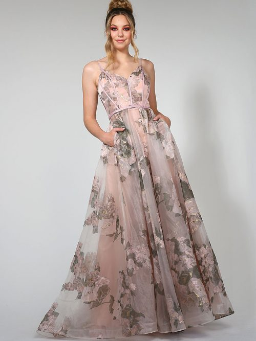 Floral Fabri and a full A-line Skirt. Bridesmiad Dress